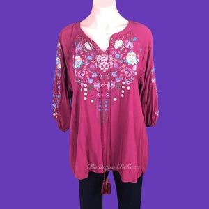 Embroidered Burgundy Top With Neck Tie incl Plus